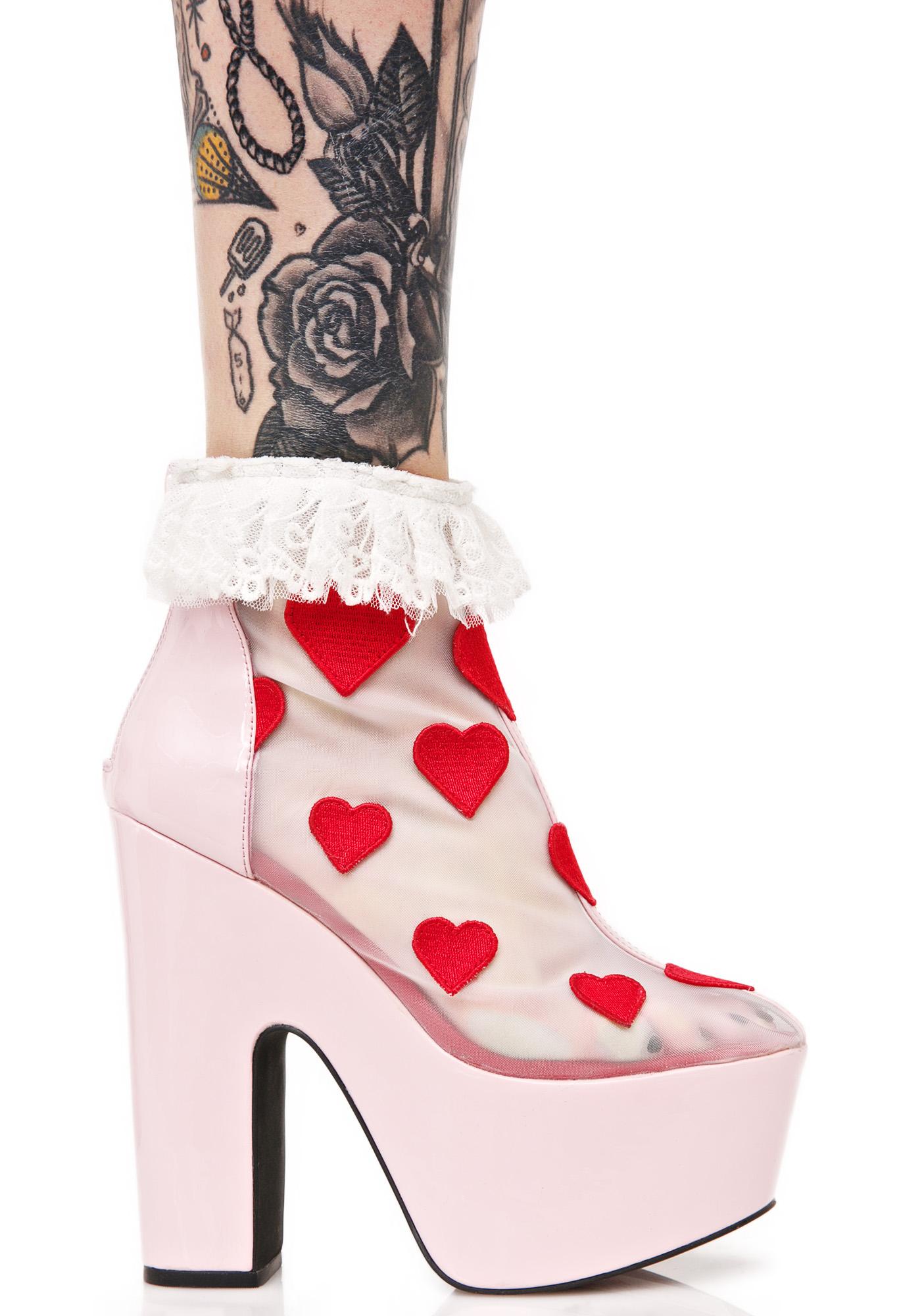 Sugar Thrillz Heart Printed High Heels
