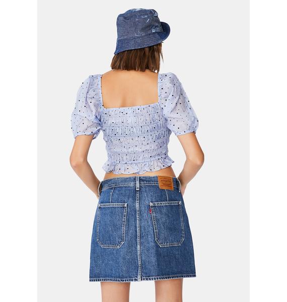 Levis Blue Button Front Utility Denim Skirt