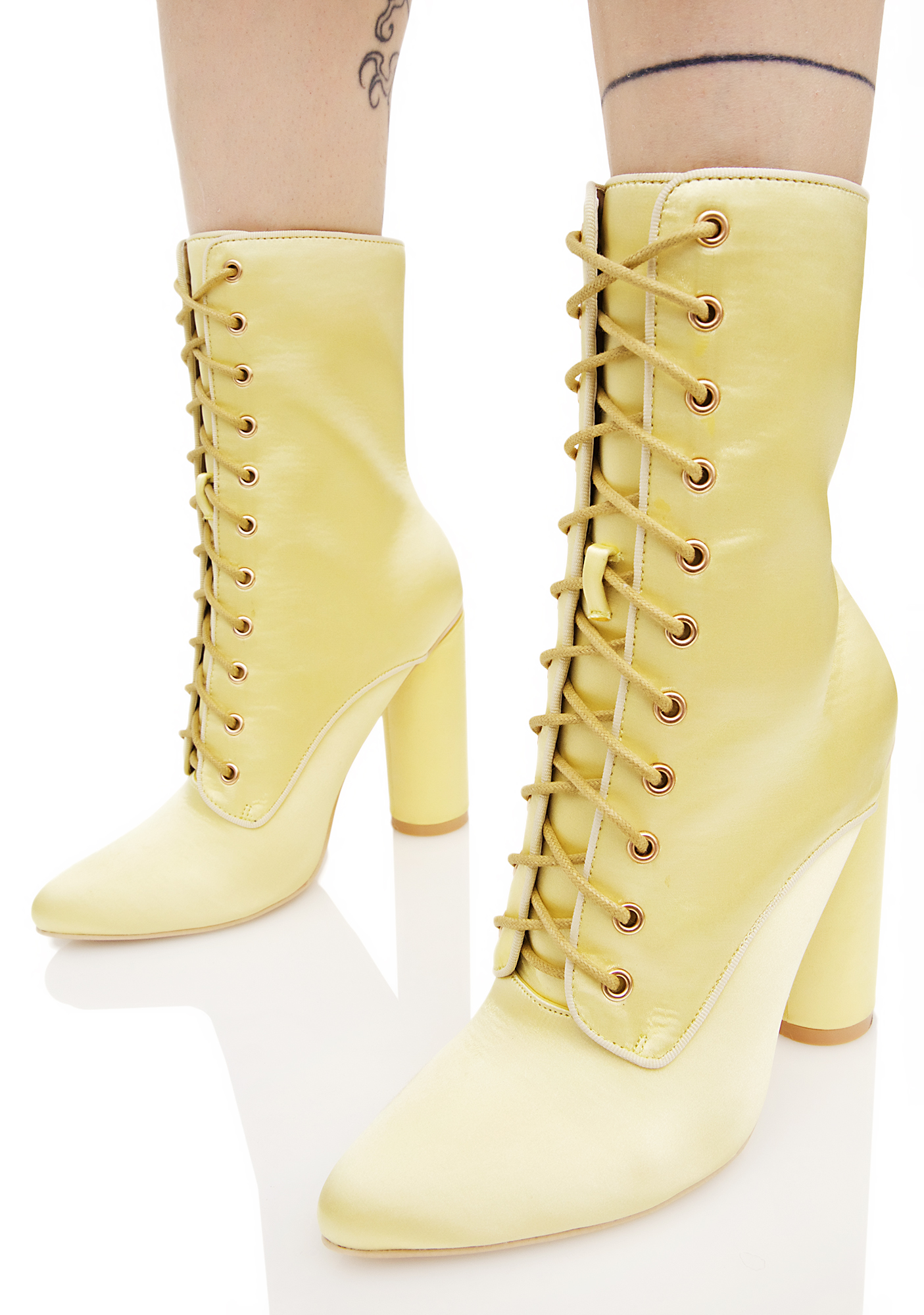 Yellow Satin Lace Up Boots