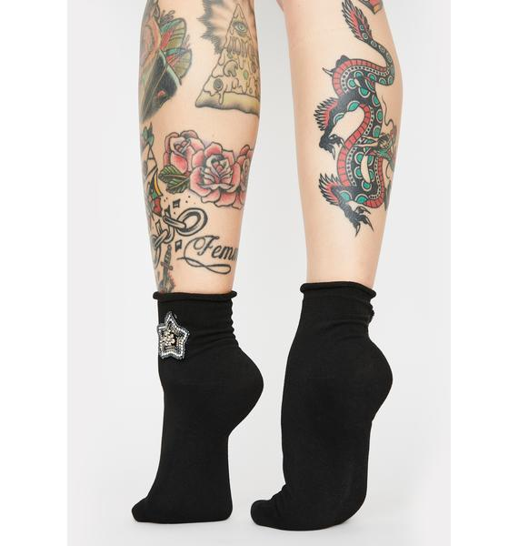 MeMoi Moon N' Stars Roll Top Ankle Socks