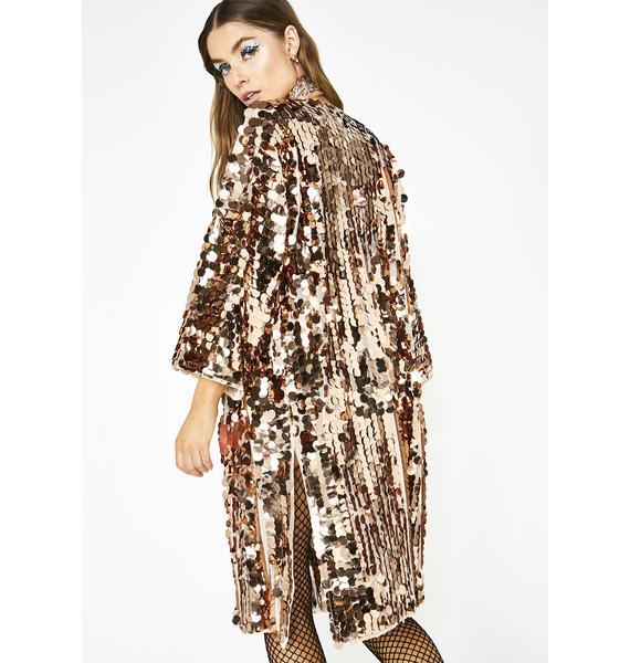 Club Exx Bronze Glimmer Goddess Sequin Kimono