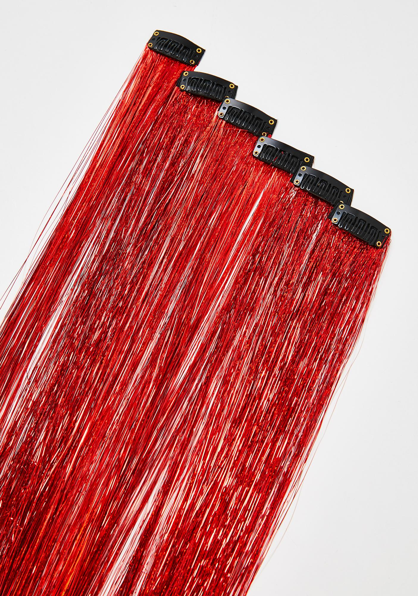 SHRINE Red Tinsel Hair Extensions