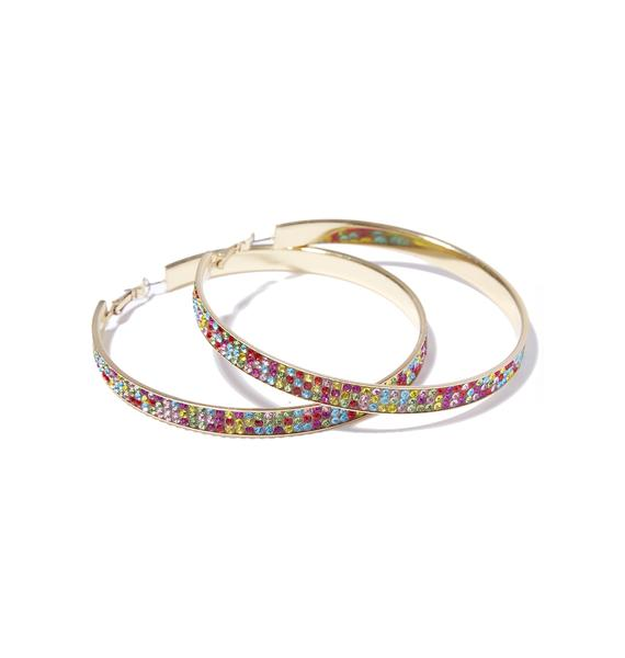 Rainbow Sparkle Seeker Rhinestone Hoop Earrings
