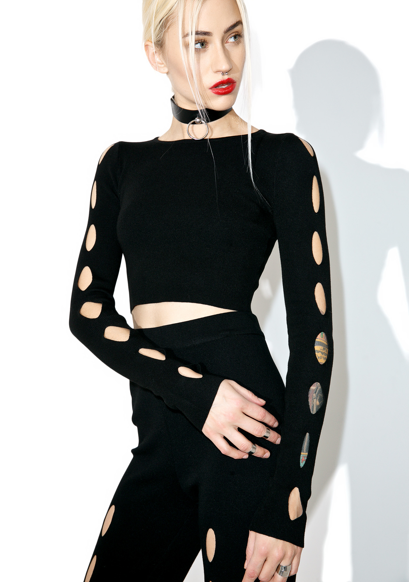 Black Cutout Long Sleeve Crop Top