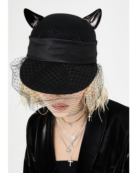 Solemn Salem Cat Ear Hat