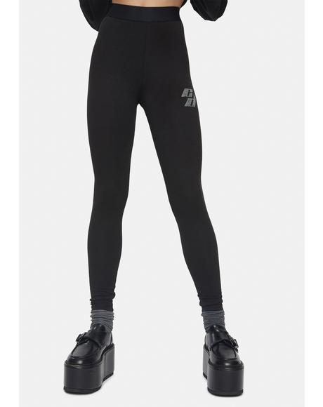 Black Leggings With Rhinestone Embellishment