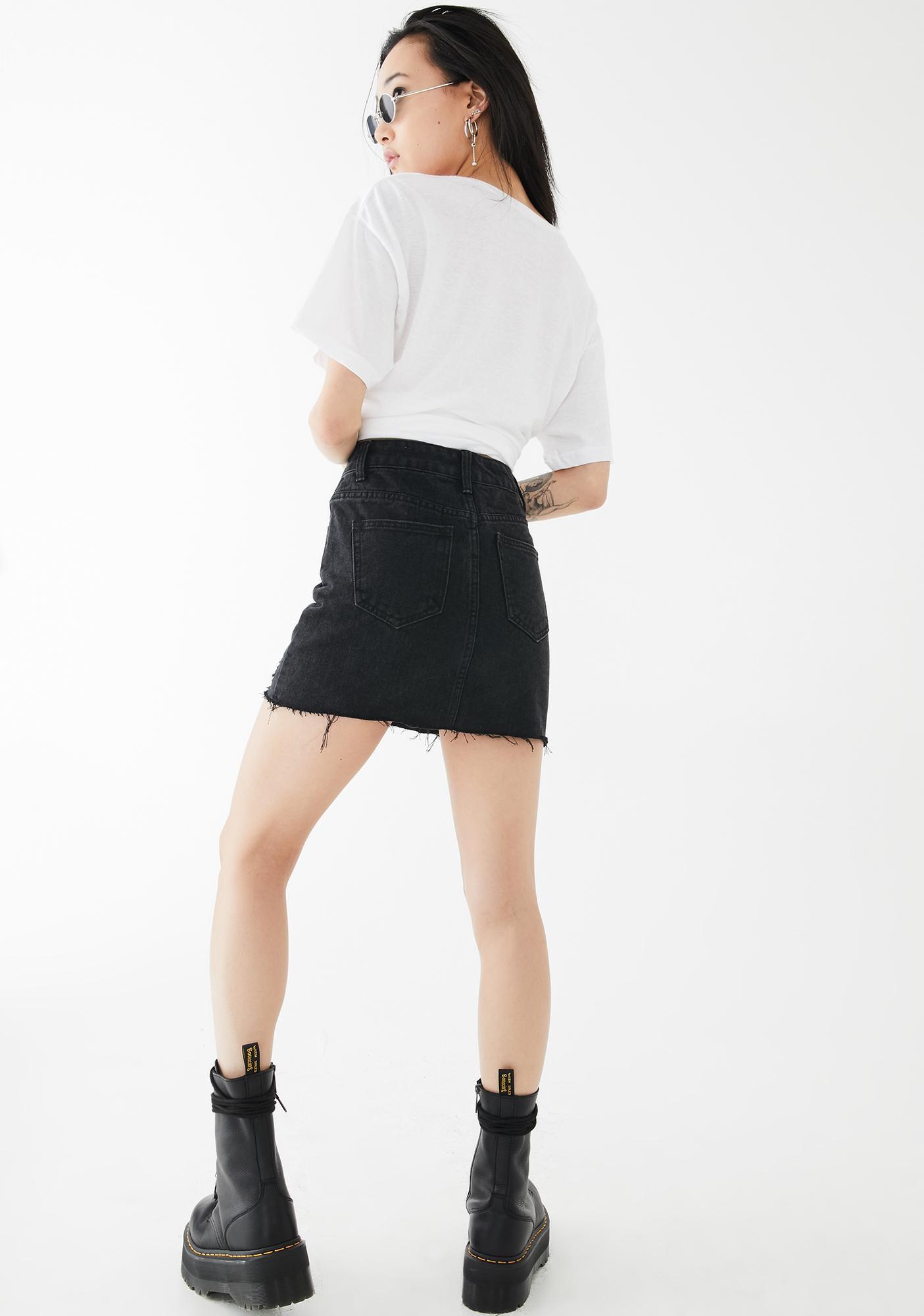 Momokrom One Sided Distressed Hem Denim Skirt