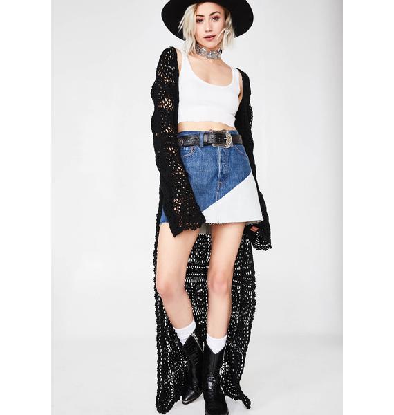 Levis Two-Tone Deconstructed Denim Skirt