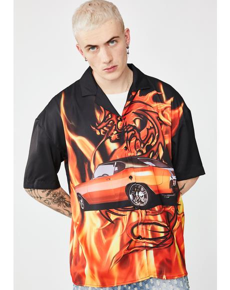Flaming Car Print Oversized Shirt