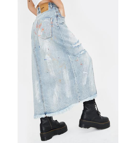 One Teaspoon Hawaii Blue Rocko Denim Skirt