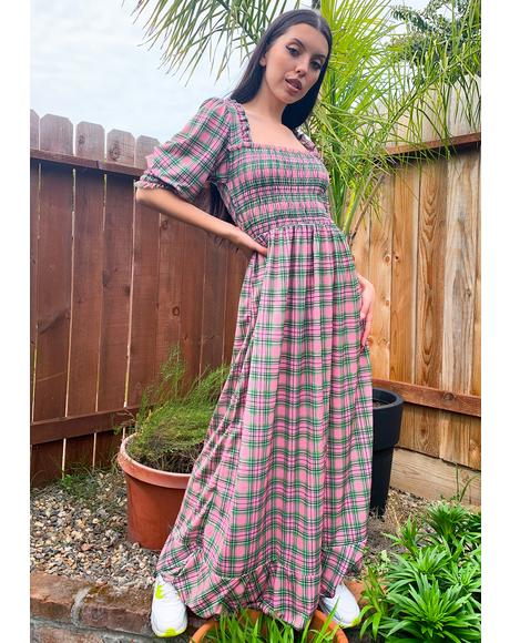 Pink Plaid Maxi Dress