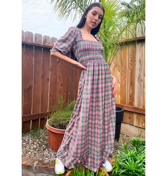 NEW GIRL ORDER Pink Plaid Maxi Dress
