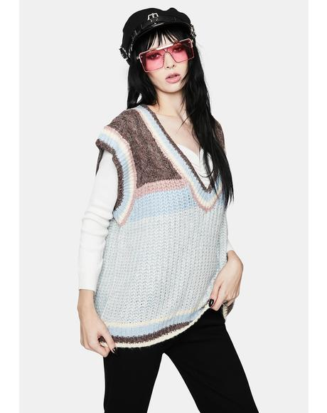 Side Dish Striped Knit Sweater Vest