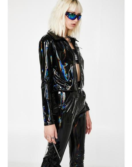 Patent Black Reflect Crop Jacket