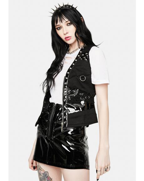 Faux Leather Studded Vest Top