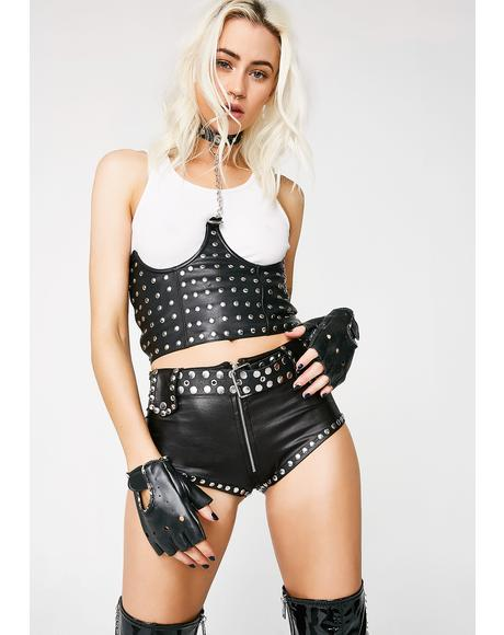 Rev It Up Leather Chain Top