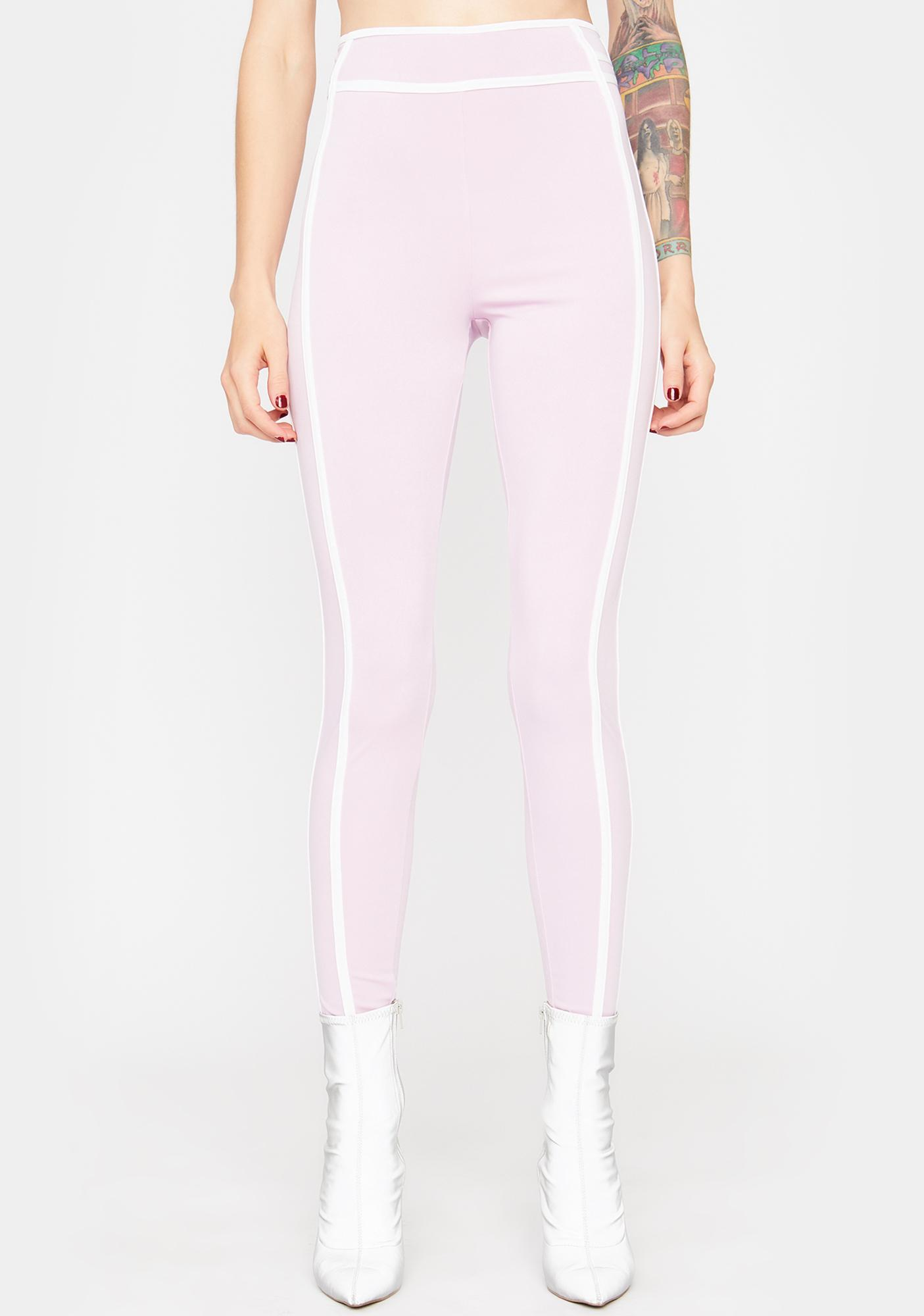 Lilac In The Mood Contrast Stitch Leggings