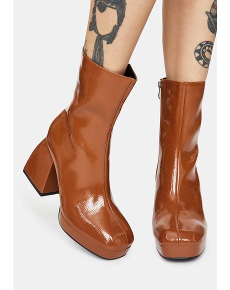 Tan Patent Imagine Chunky Heel Ankle Boots