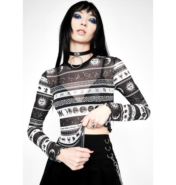 HOROSCOPEZ Divine Dreamcatcher Mesh Top