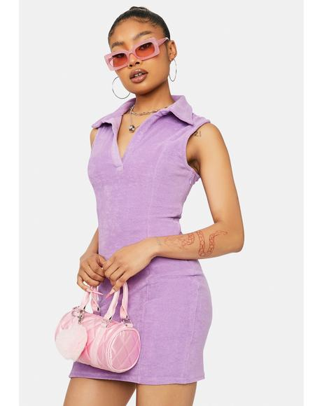 Lilac Up To You Terry Cloth Mini Dress