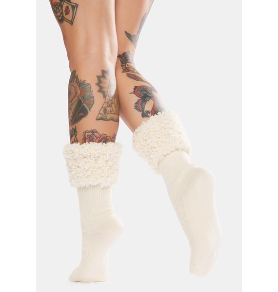 MeMoi Elegant Ribbed Cuff Crew Socks