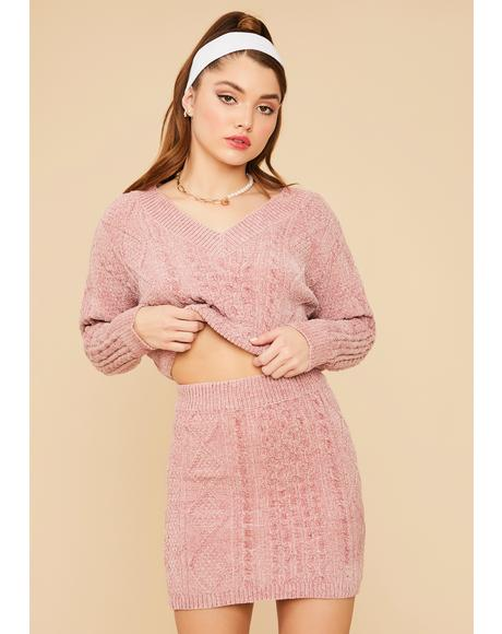 Mauve In Session Cable Knit Sweater Set With Socks