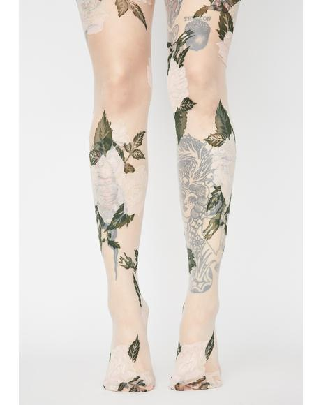 White Rose Garden Sheer Tights