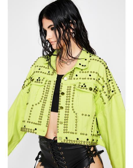 Slime Rhinestone Brazy Denim Jacket
