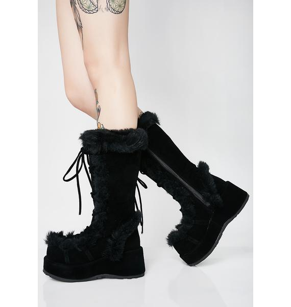 Demonia Witchy Ritual Fuzz Boots