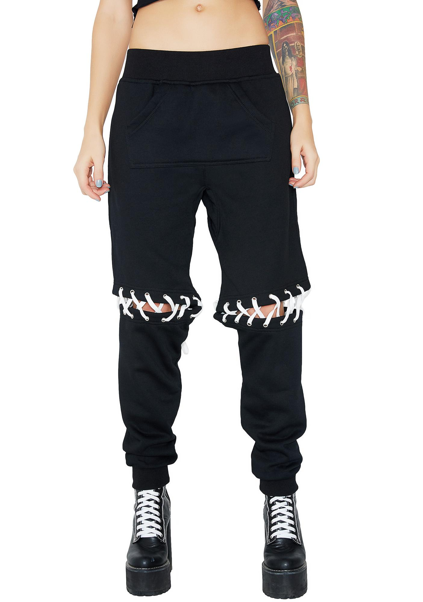 Current Mood Ill Will Lace-Up Sweatpants