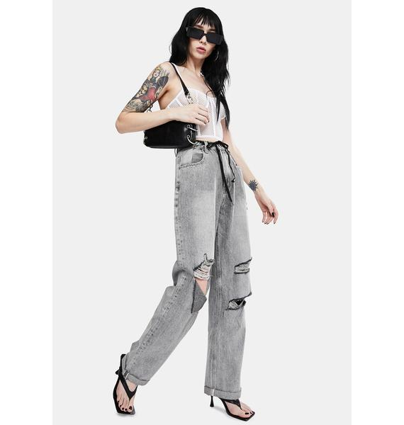 ZGY Grey Raider Trash High Waist Wide Leg Jeans
