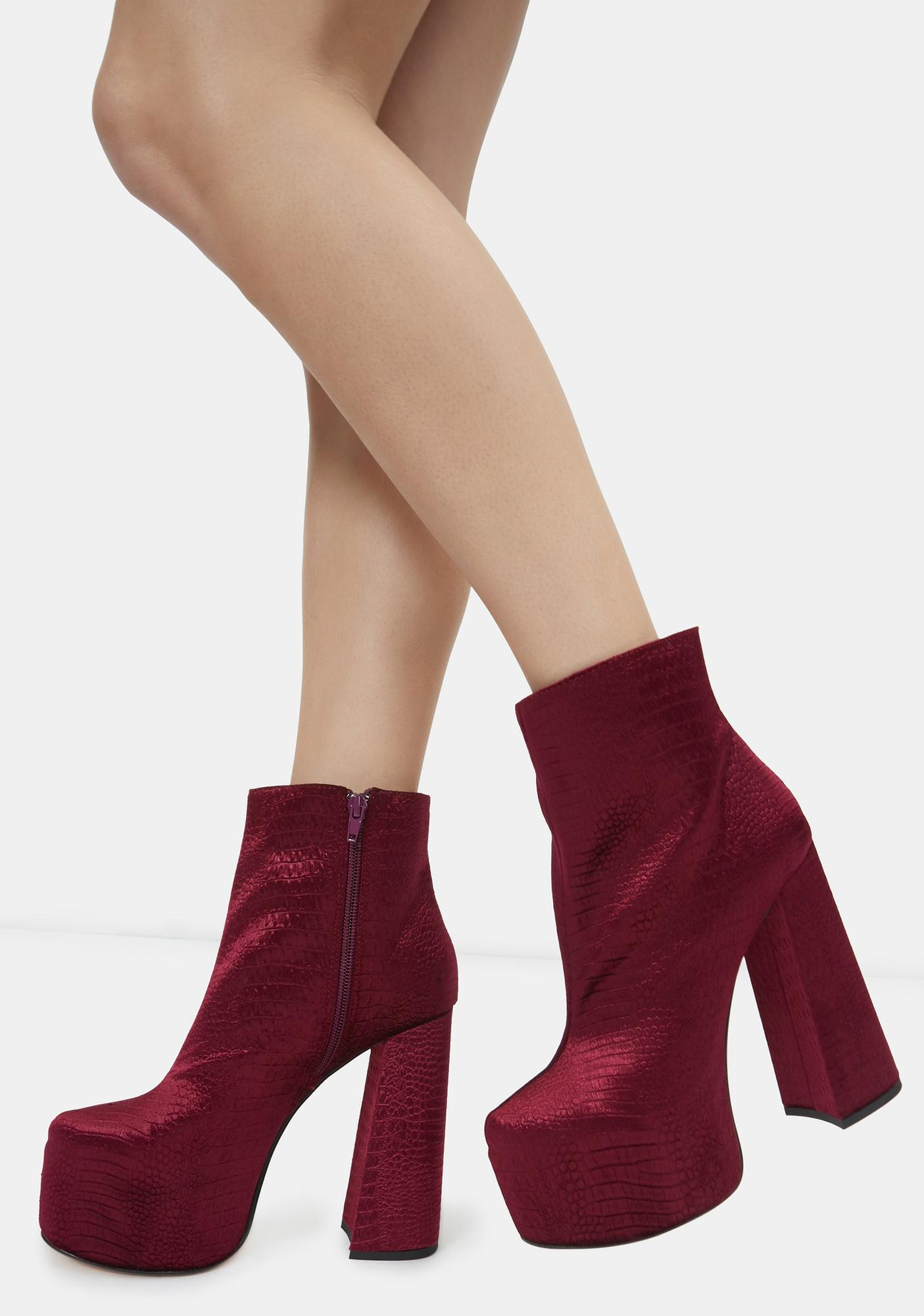 Lemon Drop by Privileged Burgundy Kareen Ankle Boots