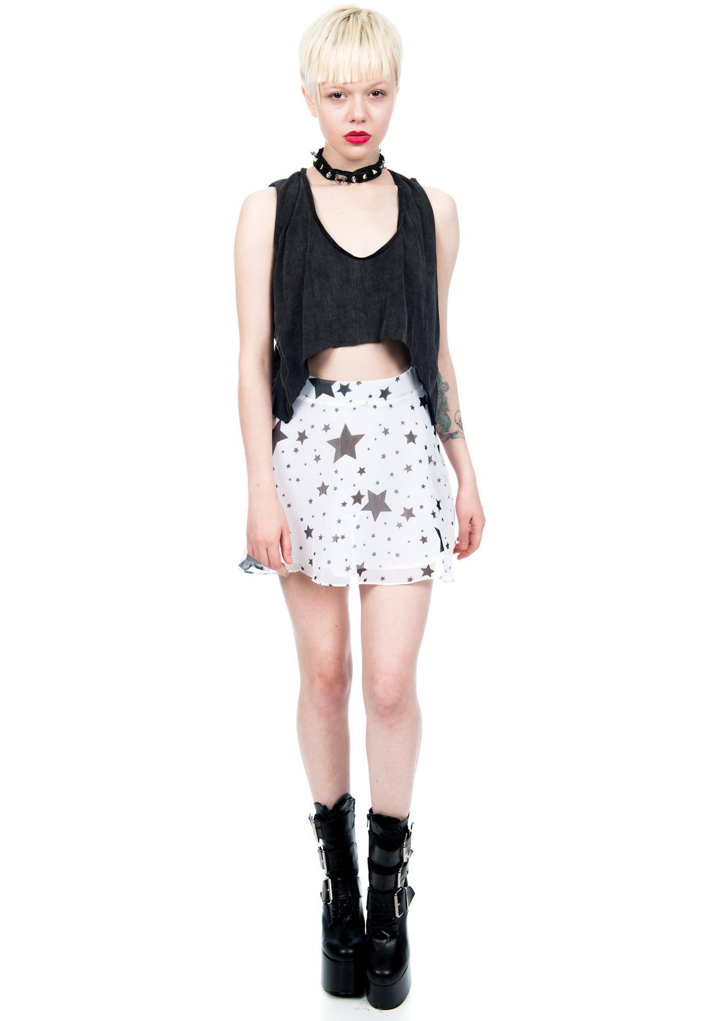 Hendrix Star Print Circle Mini Skirt