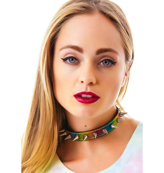 Rainbow All Spiked Up Choker
