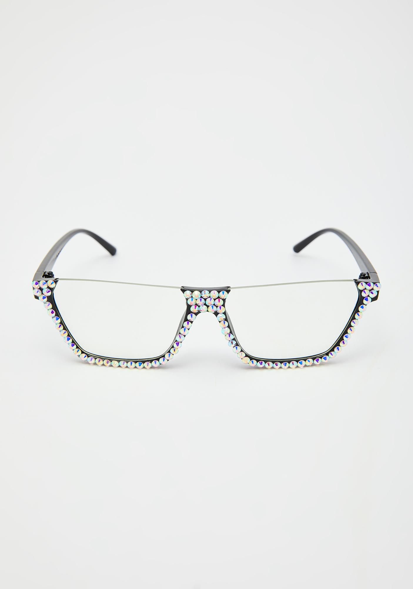 Clearly Eyes On The Prize Rhinestone Sunglasses