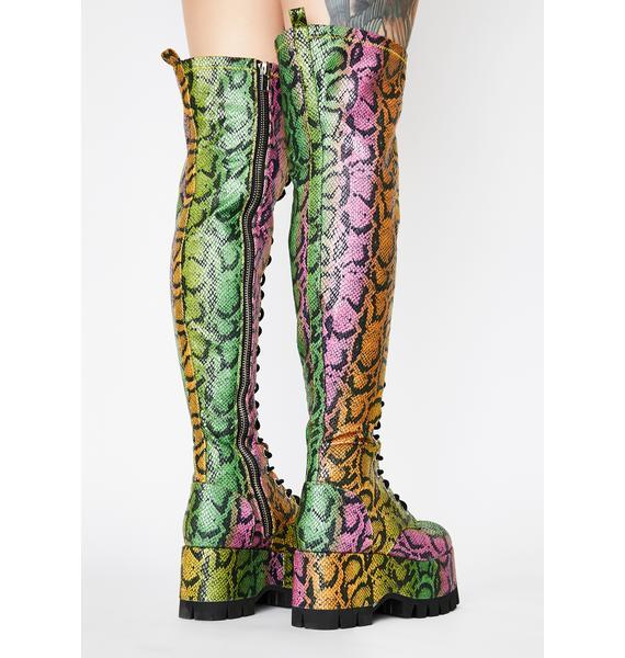 Club Exx Neon Venom Thigh High Boots