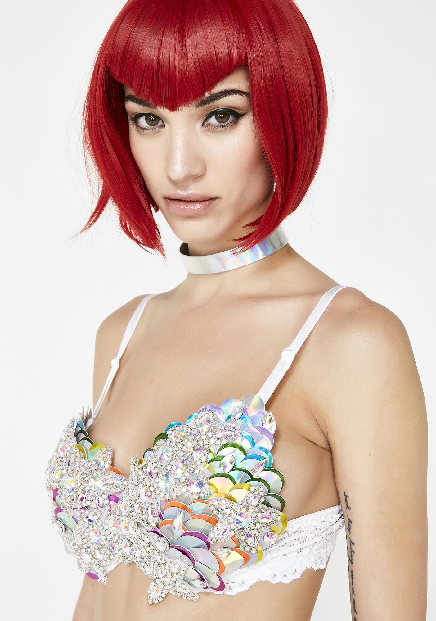 The Lyte Couture Mermaid Rainbow Rave Bra