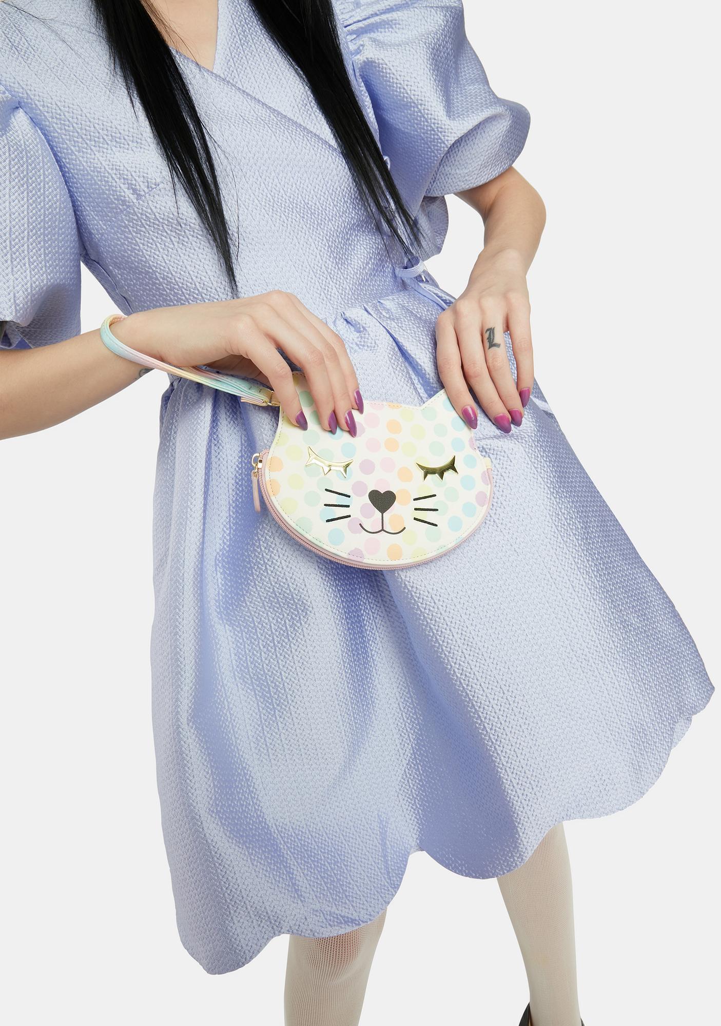 Betsey Johnson Polka Dot Kitty Kitsch Zip Wristlet