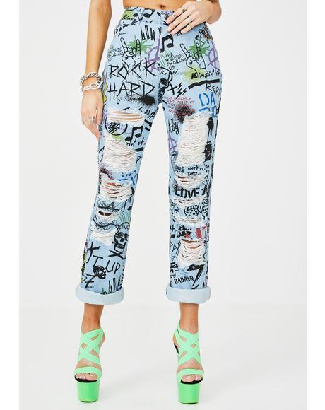 Graffiti Print Extreme Rip Denim Jeans