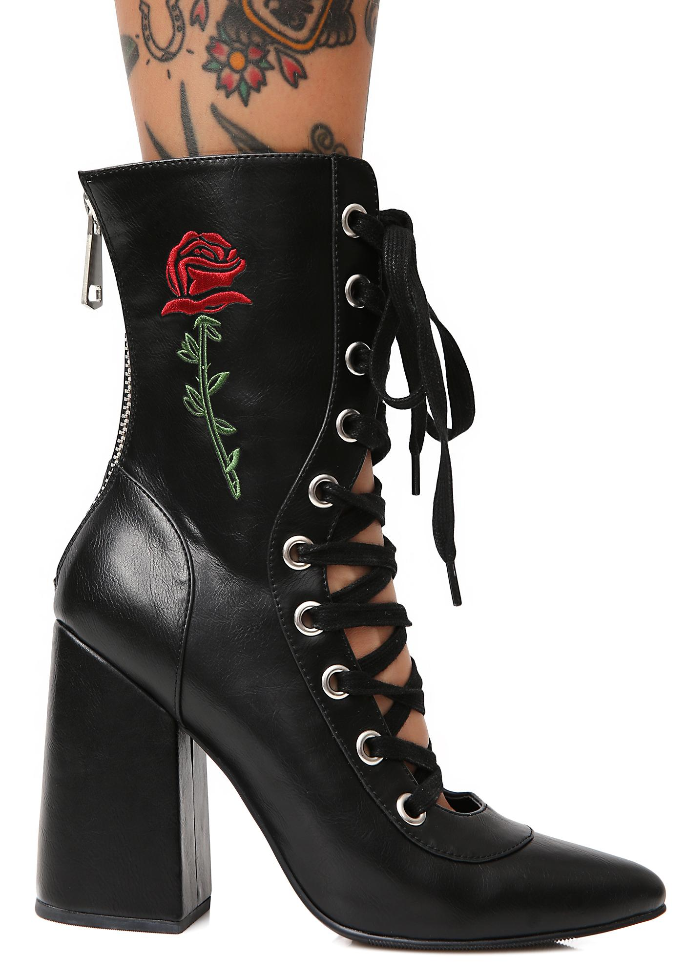 Poster Grl Last Rose Lace-Up Boots