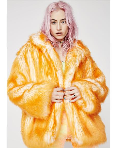 Tangerine Hip-Length Coat