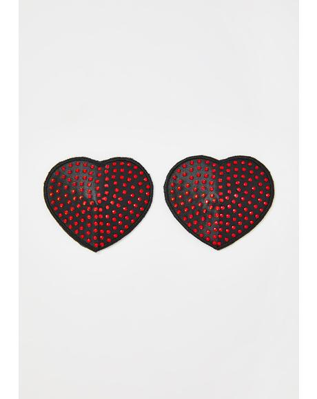 Black Hearts With Red Spikes Pasties