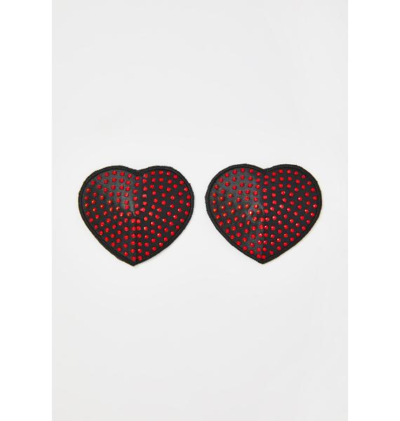 Neva Nude Black Hearts With Red Spikes Pasties