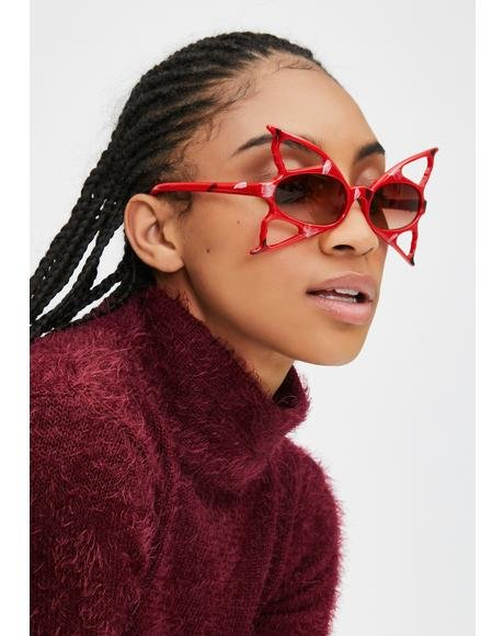 Red Butterfly Fantasy Sunglasses