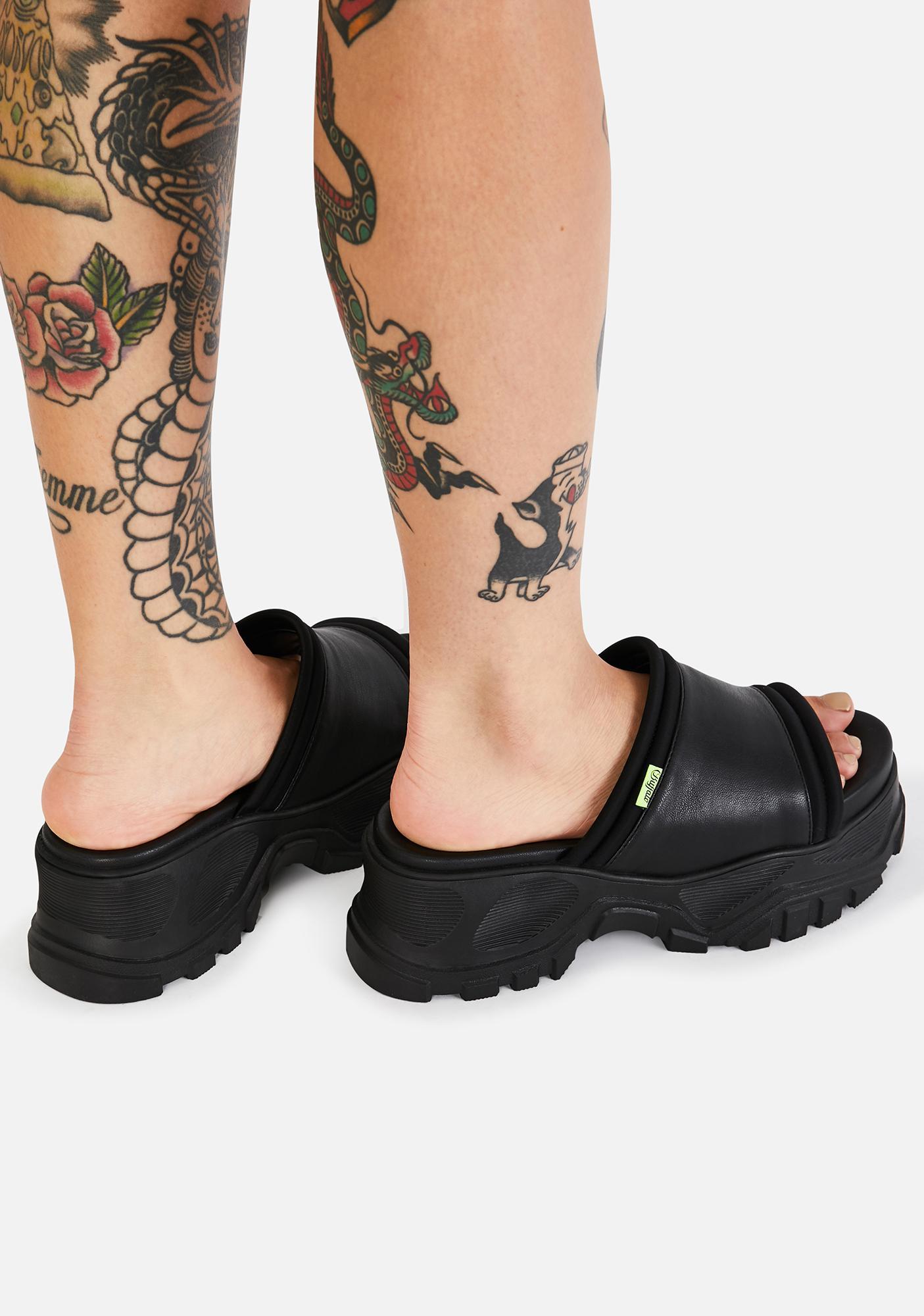 Buffalo Black GLDR OT Platform Sandals