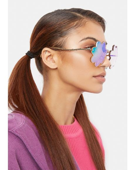 Iridescent Bloom Oversized Sunglasses