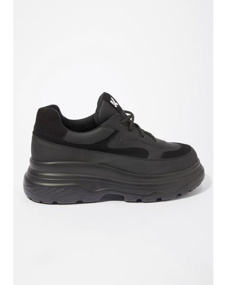Black Gyoubu Wire Chunky Sneakers