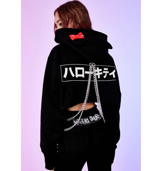 Dolls Kill x Hello Kitty Playtime Anarchy Cropped Hoodie