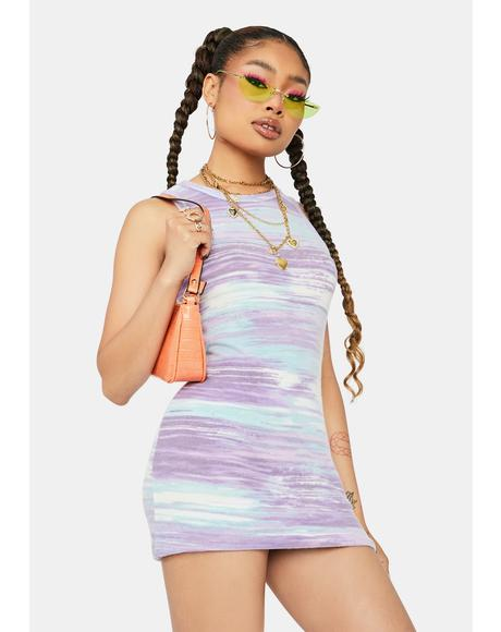 Lavender Broken Down Fuzzy Abstract Mini Dress