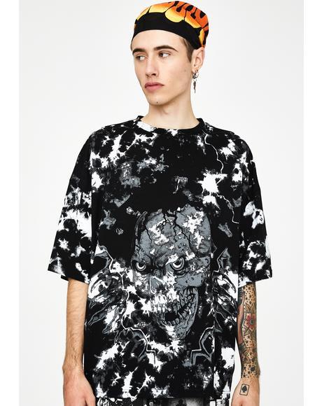 Tie Dye Skull Print Oversized T-Shirt